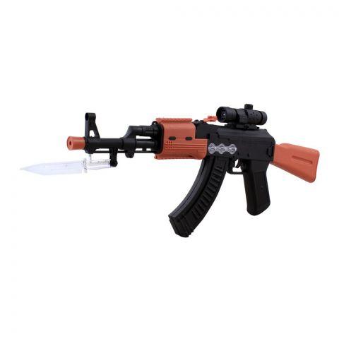 Live Long AK 47 Toy Gun With Knife, 2408-6