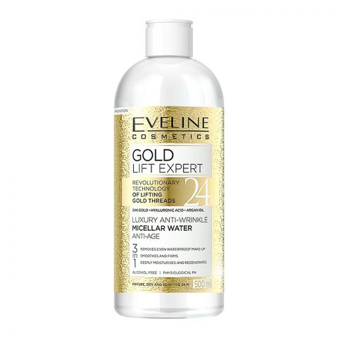 Eveline Gold Lift Expert 3-In-1 Luxury Anti-Wrinkle Micellar Water, Alcohol Free, Mature, Dry & Sensitive Skin, 500ml