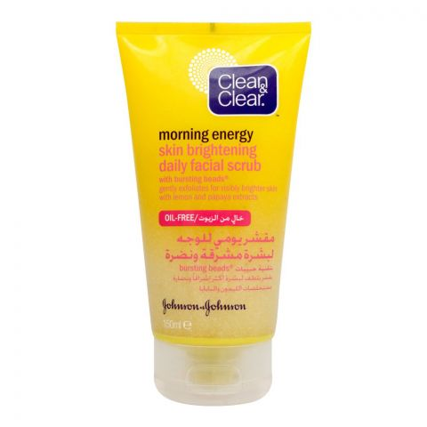 Clean & Clear Morning Energy Skin Brightening Daily Facial Scrub, Oil Free, 150ml