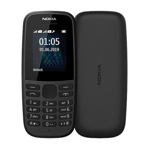 Nokia 105 2019 Dual Sim Mobile Phone, Black, TA-1174