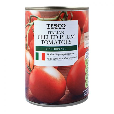 Tesco Italian Peeled Plum Tomatoes, Vine-Ripened, 400g