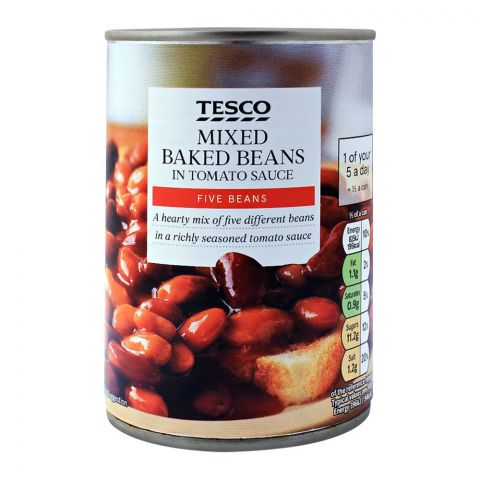 Tesco Mixed Baked Beans In Tomato Sauce, Five Beans, 415g