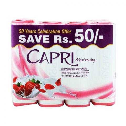 Capri Moisturising Strawberry Softener Soap, 4x165g