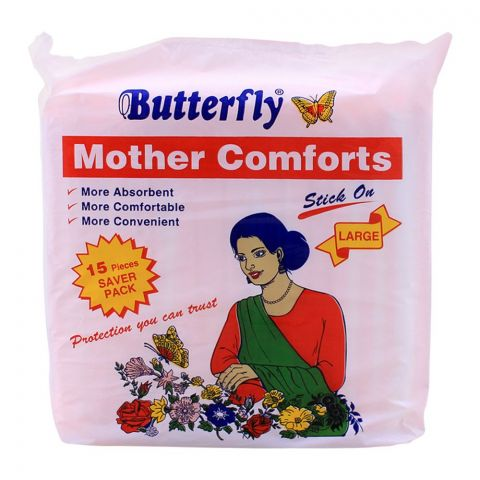 Butterfly Mother Comforts Stick On Large, 15-Pack