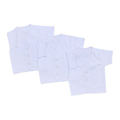 Angel's Kiss Short Sleaves Baby Vest, Medium, White