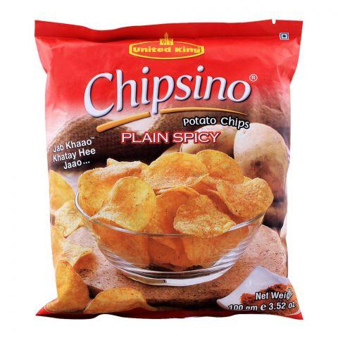 United King Chipsino Plain Spicy Potato Chips, 100g