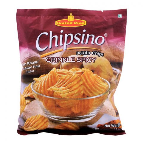 United King Chipsino Crinkle Spicy Potato Chips, 100g