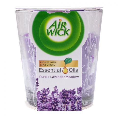 Airwick Purple Lavender Meadow Scented Candle, Infused With Essential Oils, 105g