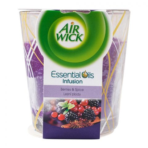 Airwick Berries & Spice Scented Candle, Infused With Essential Oils, 105g