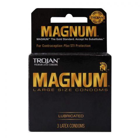 Trojan Magnum Lubricated Latex Condoms, 3-Pack
