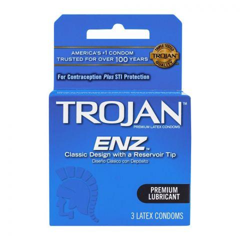 Trojan ENZ Premium Lubricant Latex Condoms, 3-Pack
