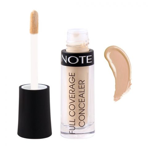 J. Note Full Coverage Liquid Concealer, 01 Ivory, With Argan Oil + Soy Protein