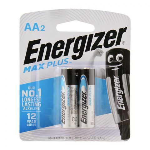 Energizer Max Plus AA Long Lasting Alkaline Batteries, 2-Pack, BP-2