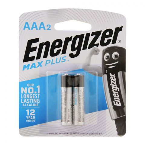 Energizer Max Plus AAA Long Lasting Alkaline Batteries, 2-Pack, BP-2