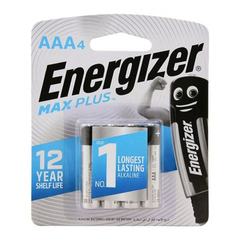 Energizer Max Plus AAA Long Lasting Alkaline Batteries, 4-Pack, BP-4