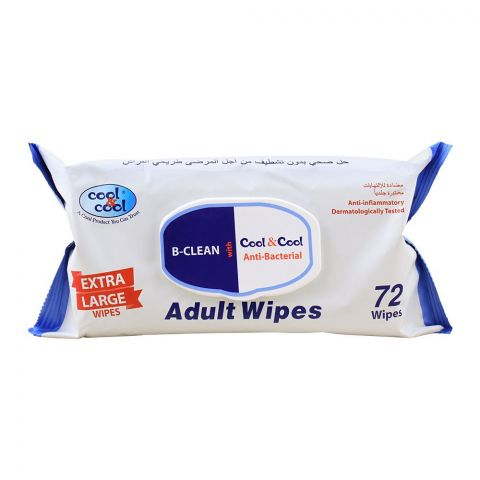 Cool & Cool B-Clean Anti-Bacterial Adult Wipes, 72-Pack