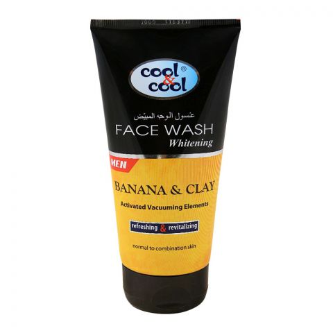 Cool & Cool Men Banana & Clay Whitening Face Wash, Normal to Oily Skin, 150ml