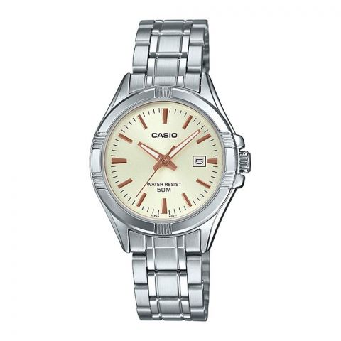 Casio Women's Analog Beige Dial Dress Watch, Stainless Steel Band, LTP-1308D-9AVDF