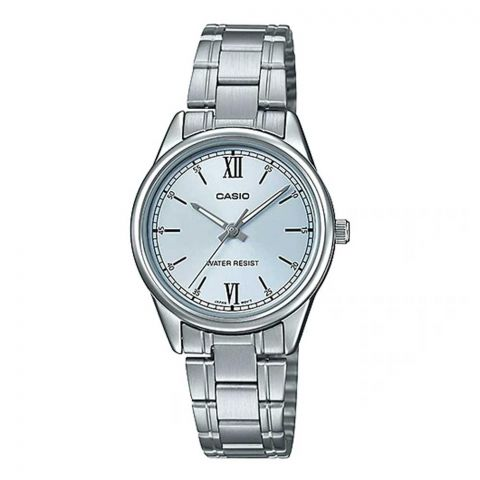 Casio Women's Standard Stainless Steel Pale Blue Watch, LTP-V005D-2B3UDF