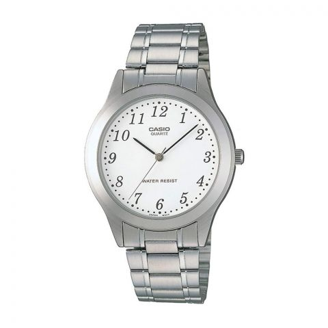 Casio Men's Casual Silver Stainless Steel Watch With White Dial, MTP-1128A-7BRDF
