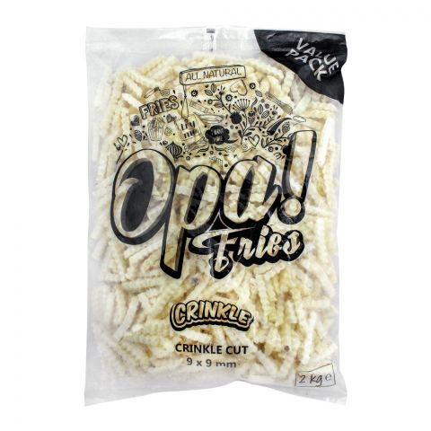Opa! Fries Crinkle Cut, 9x9mm, 2 KG, Value Pack
