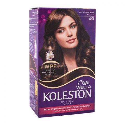 Wella Koleston Color Cream Kit, 4/3 Medium Golden Brown