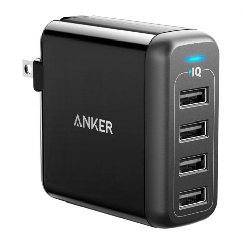 Anker PowerPort 4 The 4 Port USB Wall Charger, Black, A2142J12