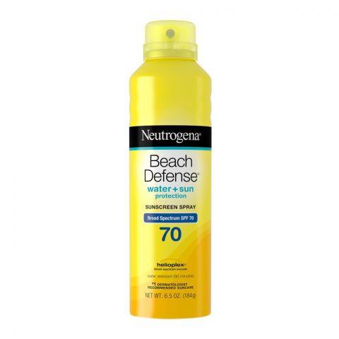 Neutrogena Beach Defense Water + Sun Protection Sunscreen Spray, SPF 70, 184g