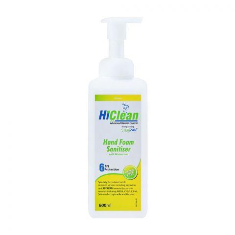 Hiclean Lemon Hand Foam Sanitiser With Moisturiser, Alcohol Free, 600ml