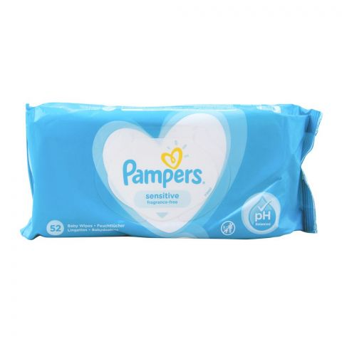 Pampers Sensitive Baby Wipes, Fragrance Free, 52-Pack