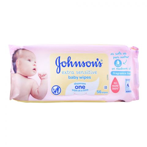 Johnson's Extra Sensitive Baby Wipes, Fragrance Free, 56-Pack