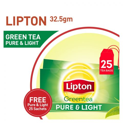 Buy One Get One FREE, Lipton Pure & Light Green Tea Bags, 25-Pack