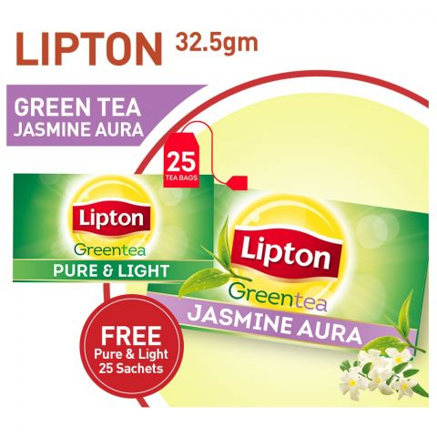 Lipton Jasmine Aura Green Tea Bags + FREE Pure & Light Tea Bags, 25-Pack