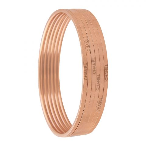 Channel Style Girls Bangle, 6 Pieces, Rose Gold, NS-021