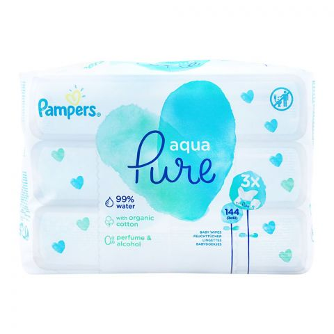 Pampers Aqua Pure Organic Cotton Baby Wipes, Economy Pack, Perfume & Alcohol Free, 3x48 Pieces