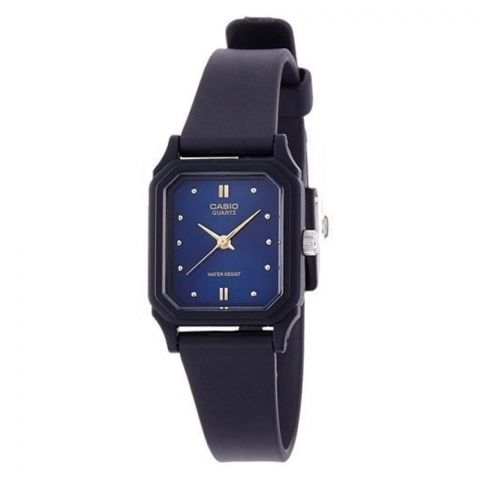 Casio Women's Black Resin Strap Watch, Blue Dial, LQ-142E-2ADF