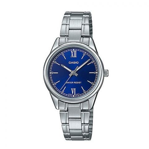 Casio Women's Blue Dial Analog Dress Watch, Stainless Steel Strap, LTP-V005D-2B2UDF
