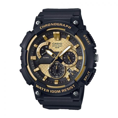Casio Youth Retrograde Chronograph Black/Gold Analog Men's Watch, Resin Strap, MCW-200H-9AVDF