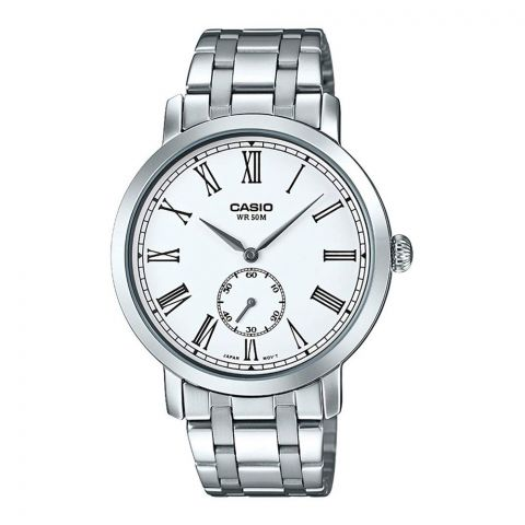 Casio Enticer Analog White Dial Men's Watch Stainless Steel Band, MTP-E150D-7BVDF