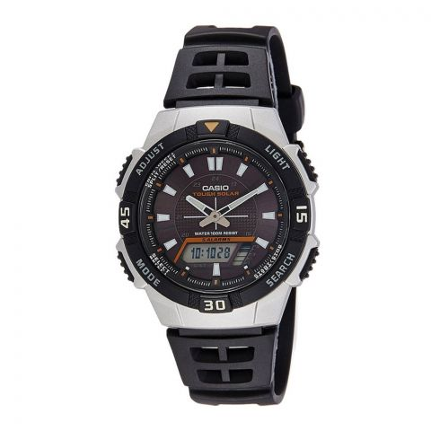 Casio Tough Solar Sports Black/Silver Analog Men's Watch, 5 Alarms, Black Resin Band, AQ-S800W-1EVDF