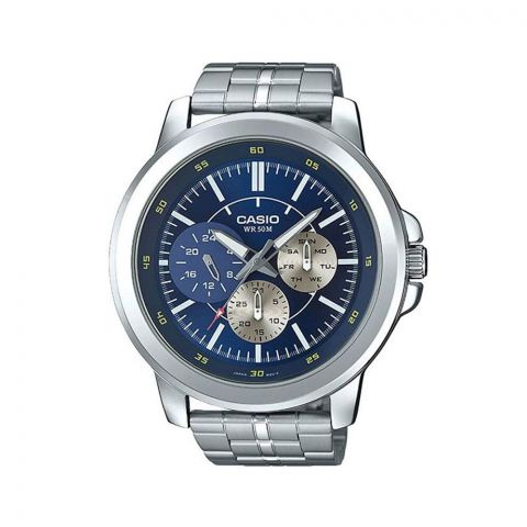 Casio Men's Enticer Stainless Steel Multifunction Blue Dial Watch, MTP-X300D-2EVDF