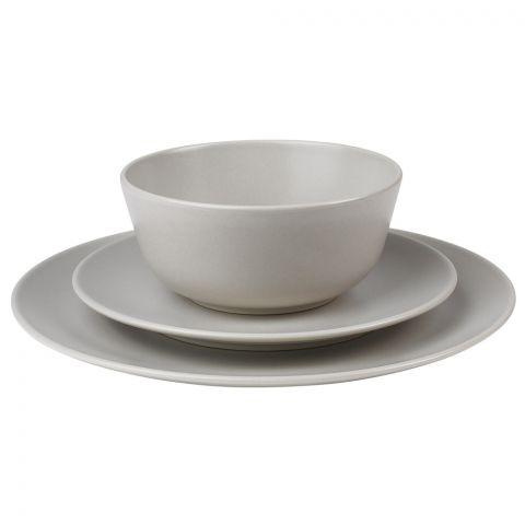 IKEA Dinera Serving 18 Piece Dinnerware Set, Light Gray Cream/Beige, 50423969
