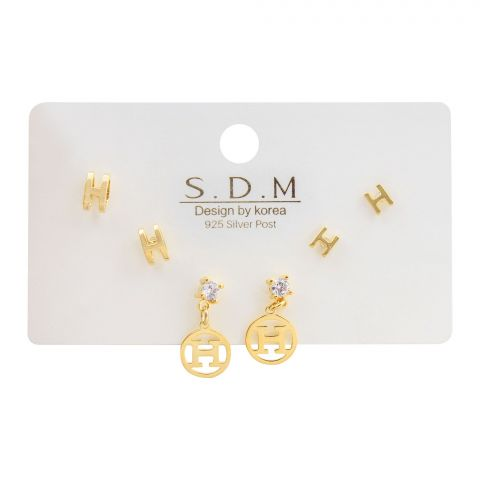 Hermes Style Girls Earrings Set, 3 Pairs, NS-056