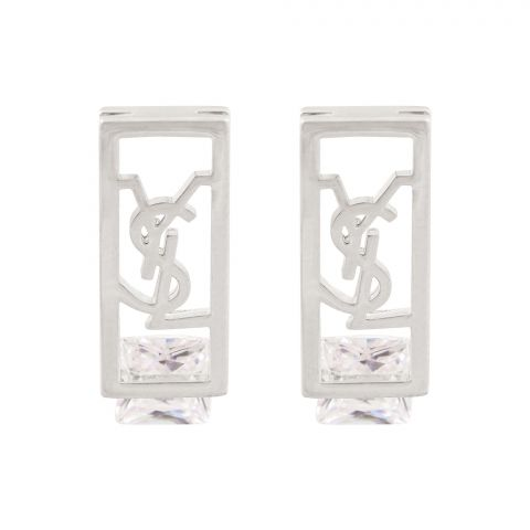 YSL Style Girls Earrings, Silver, NS-058