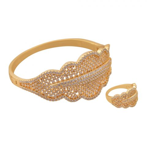 Girls Ring and Bracelet Set, Golden, NS-002