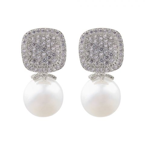 Pearl Girls Earrings, Silver, NS-081