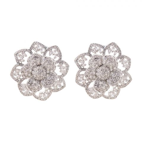 Girls Earrings, Silver, NS-097