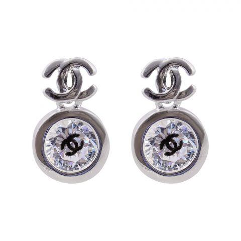 Channel Style Girls Earrings, Silver, NS-0108