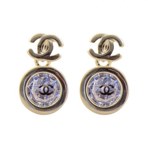 Channel Style Girls Earrings, Golden, NS-0108