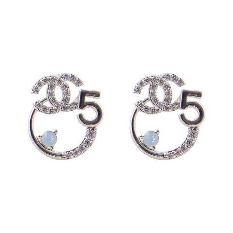 Channel Style Girls Earrings, Silver, NS-0110